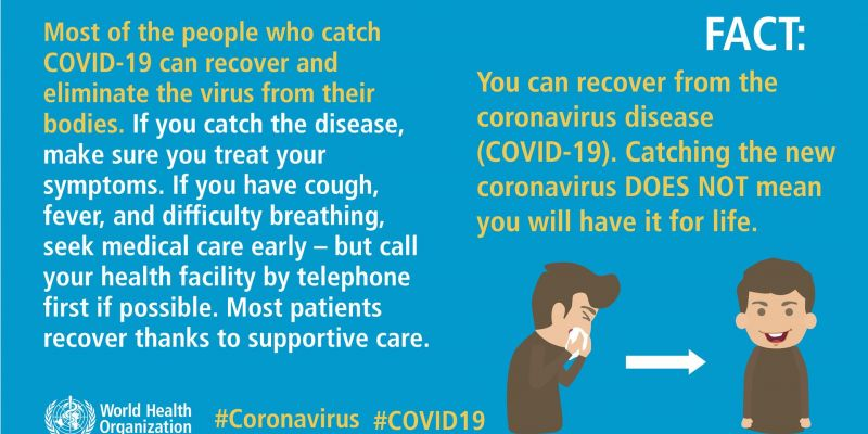 You can revover from COVID-19. Catching the new coronavirus DOES NOT mean you will have it for life
